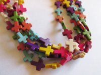 Multi colored cross beads #1440-T13