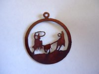 Team roper in circle pendant #300-256
