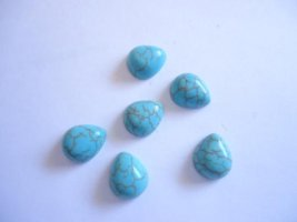 10x12mm Turquoise Teardrop cabs (bag of 5) #CAB-8