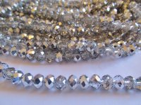 Silver & Clear Faceted Crystals (8mm X 6mm) #1345BB