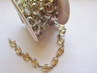 Crystal Bead Chain - Topaz Crystal Oval - Bronze (Roll) 12mm