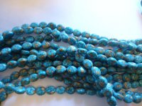 Turquoise mosaic oval beads #QB1180