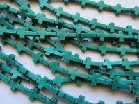 Teal green Cross beads #1690