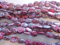 Red/white and black oval mosaic beads #QB1178
