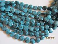 Turquoise round flat beads #1026 -T13