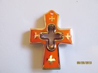 Cross Orange acrylic pendant #PP42