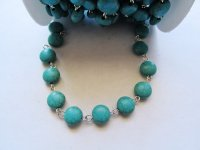 Bead chain - Turquoise round flat - silver wire (ROLL)