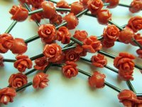 Coral Rose Beads #1782my