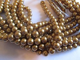 Taupe glass pearls 10mm #1273