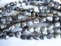 Black and grey Web Jasper nugget beads #TU1099