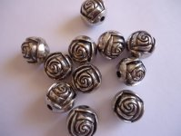 Silver Rose metal coated beads (Bag of 10) #ACR-10