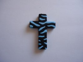 Turquoise/black Acrylic cross bead #BS1020B