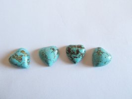 15mm Turquoise heart cabochons (bag of 4) #CAB-34