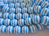Blue and white striped round beads #HU-1282-13