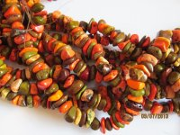 Orange green yellow chunk beads #1064-T13