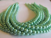 Mint green 6mm glass pearl rounds #1593