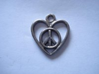 Heart with peace sign charm #4009-20