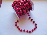 Bead Chain - Red (Roll) silver 8mm