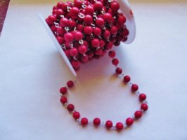 Bead Chain - Red (1 ft) silver 8mm