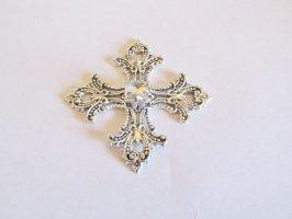Antique Silver cross Glue On #MISC12