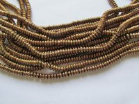 Bronze glass rondelle beads #H1309