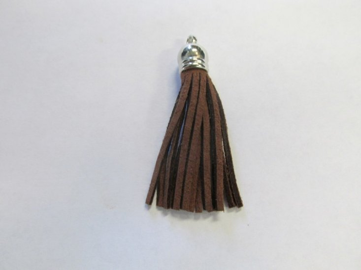 Leather Tassel Brown and silver #BRWNtass - Click Image to Close