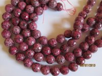 Cranberry faceted agate rounds #1065-T13