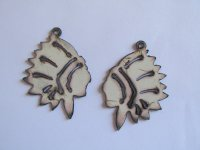 Indian chief metal white earring (set) #WKS-17