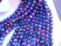 Blue, pink, brown glass rounds #1432