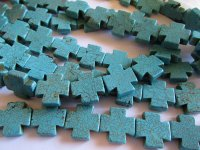 Turquoise Chopper Cross Beads 20mm #1573