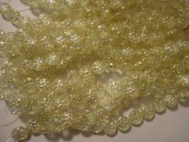 Yellow flat round fancy glass beads #h1298
