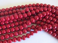 Red Glass Round Pearls #1677