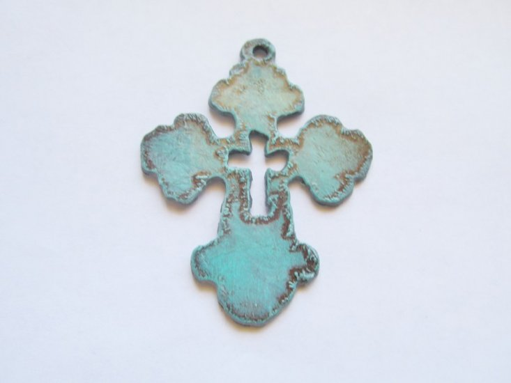 Chubby Cross with cross out #CC007-2 1/2 patina - Click Image to Close