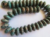 Turquoise and copper Rondelle beads #BB1090-16