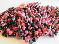 Black and Pink Agate rounds #1565