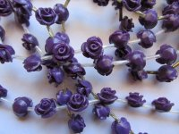 Purple resin rose beads #BS1050