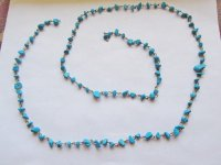 "Bead Chain - Turquoise Chip - Bronze (3' 3"" strand)"