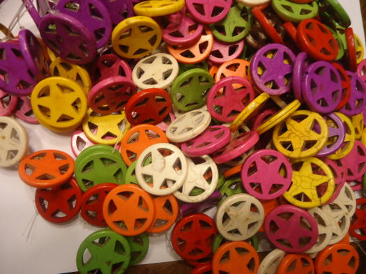 Multi colored Texas star beads #SS1244 - Click Image to Close
