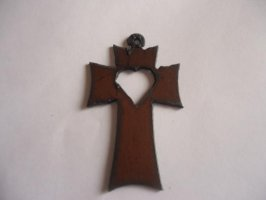 Cross with heart metal cutout pendant #CC012L